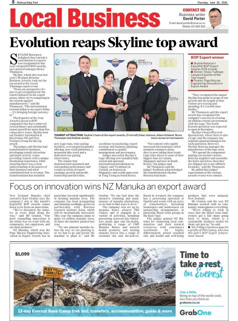 Rotorua Daily Post: 30 June 2016 - Focus on innovation wins...