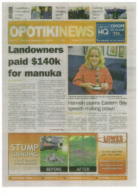 Opotiki News: 20 Sept, 2016 - Landowners Paid $140k for Mānuka