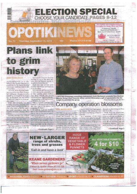 Opotiki News: 15 Sept 2016 - Company Operation Blossoms